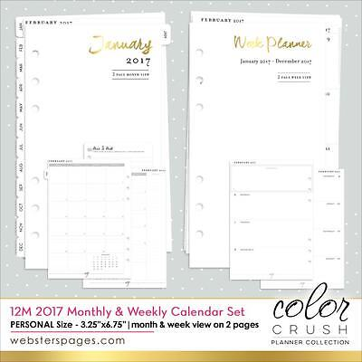 Webster's Pages Color Crush Personal Planner 2017 Week & Month View Refill P1017