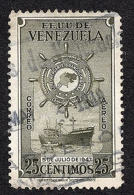 1948 Venezuela 25c ist Anniv of Greater Colombia Merchan SG 795 FINE USED R21293