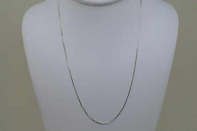 14K solid white gold 20 inches fine box link style chain