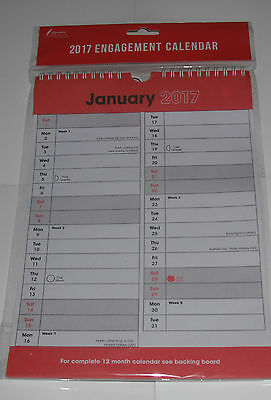 2017 Hanging Wall Calendar Large Month View Planner Red Black Calender Spiral