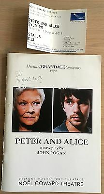 Ben Whishaw PETER AND ALICE Judi Dench 2013 PROGRAMME TICKET In Wonderland Pan