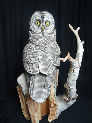 Large Porcelain Hand Painted Grey Owl Ornament On Branch Stand