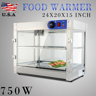 2-Tier Commercial Food Pie Warmer Showcase Cabinet Commercial Display Warming