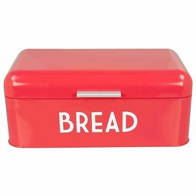 Bright Red Stainless Steel Retro Style Kitchen Hinged Lid Bread Box Organizer