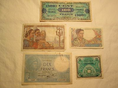 WW II Vintage French Paper Money Francs Lot