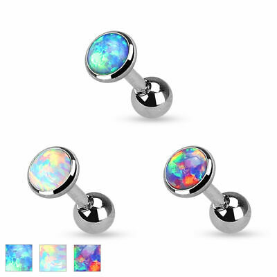 Tragus Ohrstecker Helix Cartilage Ohr Piercing Barbell Stab Syn. Opal Kristall