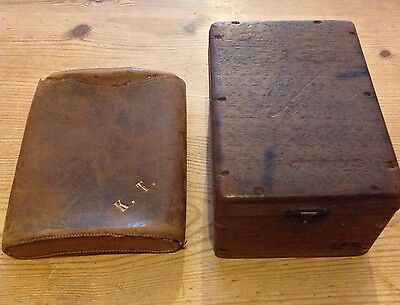 Vintage wooden Cigar Box - Corona 25 & Leather Cigar Pouch Initialled