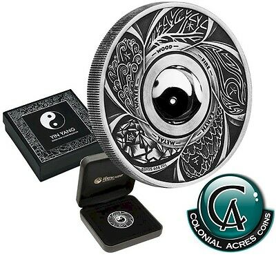 2016 Tuvalu $1 Yin Yang Rotating Charm 1oz Silver Antique Finish Coin-Tax Exempt