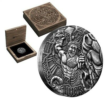 2016 Tuvalu $2 Norse Gods - THOR 2oz H.R Antique Finish Silver Coin (Tax Exempt)