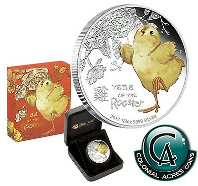 2017 Tuvalu 50-cent Lunar Baby Rooster 1/2 oz. Silver Proof Coin (TAX Exempt)