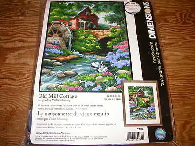 Dimensions Printed Needlepoint Kit Old Mill Cottage 14 mesh canvas Sealed 1999