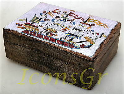 Handmade Decorative Wood Wooden Jewelry Box With A Ship Needlework Style / R33_2