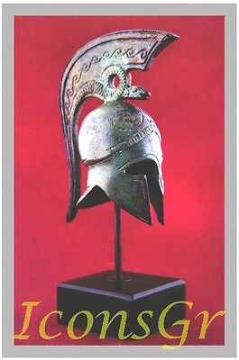 Ancient Greek Bronze Miniature Helmet On Stand Bronze Oxidization 1374-1