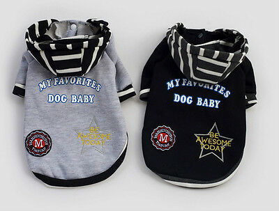 UK CLOTHES WARM OUTFIT JUMPER HOODIE FOR SMALL DOGS PUPPY PET COAT SWEATER 1fh