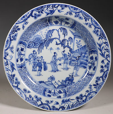 Fine Chinese Blue And White Deep Plate Kangxi Yongzheng E18Thc