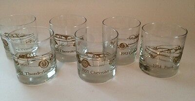 On The Rock Glasses Classic Cars Set of 6 1953-1957 Gold Trim