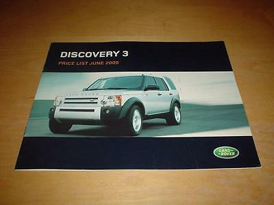 LAND ROVER DISCOVERY 3 PRICE LIST Not Owners Manual Handbook Book Sales Brochure