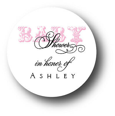 30 Pink Girl Baby Shower Favor Sticker Personalized