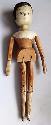 Antique Wooden Peg Doll, hand carved, hand painted