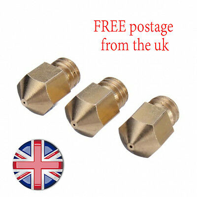 3pcs 0.4mm 3D Printer Extruder Brass Nozzle Head For PLA/ABS Makerbot Replicator