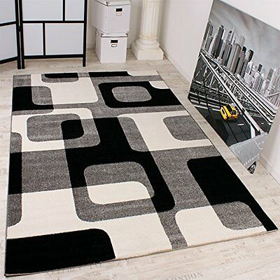 Black And White Geometric Rug Grey Patterned Bedroom Soft Small Extra Large New