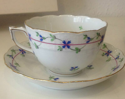 Herend Blue Garland Footed Cup & Saucer Set