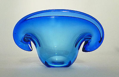Murano Blue Biomorphic Clamshell Bowl