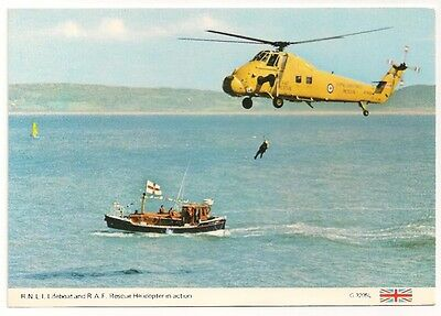 Postcard RNLI Lifeboat and RAF Rescue Helicopter in action