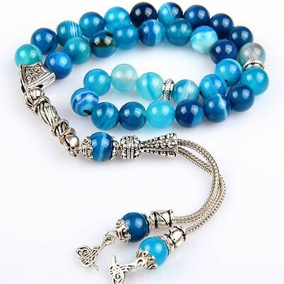 Islamic Prayer Beads, Blue Akik Agate Tasbih Tesbih Misbaha, 8 mm, 33 beads