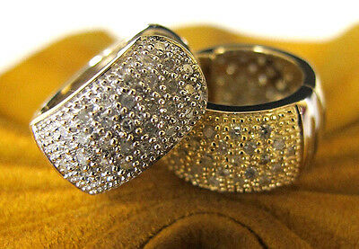 14K White and Yellow Gold Pave Diamond Huggie Earrings Reversible, Double Sided!