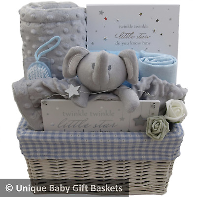 Baby gift basket/hamper blue/white/grey boy baby shower nappy cake new baby gift