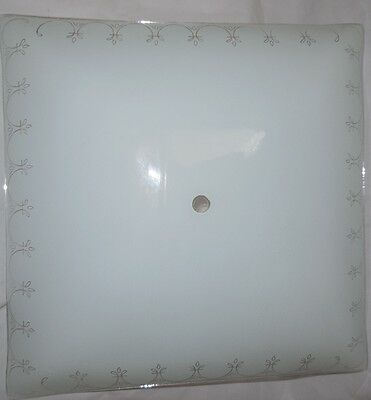 Vintage Square Glass Ceiling Light Shade Mid Century