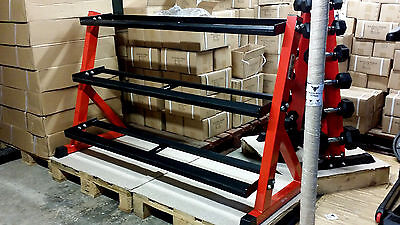 3 Tier  158Cm Long New Commercial Grade Dumbbells Rack Solid Piece Of Kit Rubber