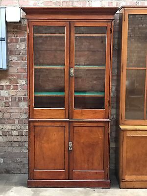 RARE Victorian Mahogany Antique Glazed Bookcase Cupboard With Brass Handles