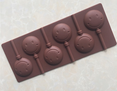 6 x Silicone Smiley Lollipop Chocolate Mould  Ice Cube Jelly Lolly Kid Party Fun