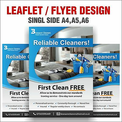Professional Single Side A4,A5,A6 Leaflet / Flyer Design - Unlimited Revisions
