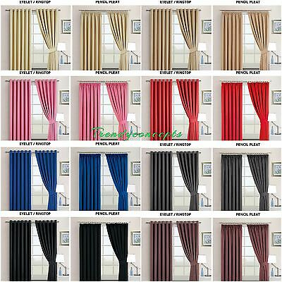 Super Soft BLACKOUT Thermal CURTAINS Eyelet RingTop/Pencil Pleat FREE Tie Backs