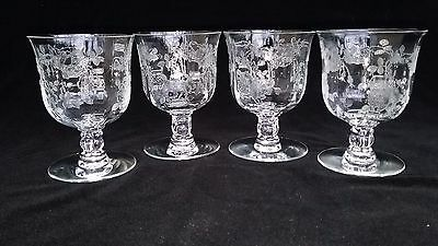 "4 Vintage Fostoria Willowmere Etched Glass 3.5"" Oyster/fruit Cocktail Goblets"