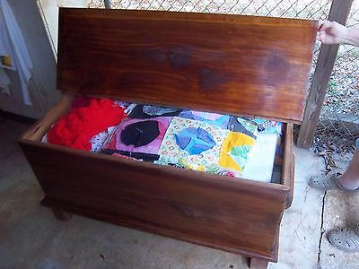 Vintage AMISH MADE ONE BOARDED QUILT or BLANKET CHEST CEDAR WOOD Pre War
