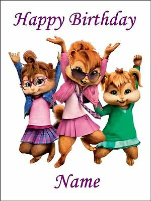 CHIPETTES CHIPMUNKS A4 (25.5cm x 19cm) EDIBLE ICING IMAGE CAKE TOPPER #1