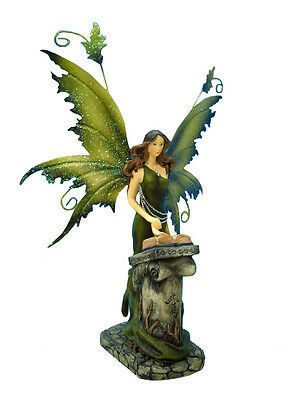 Fairy Reading Book on Alter Resin with Metal Wings Legends of Avalon Figurine