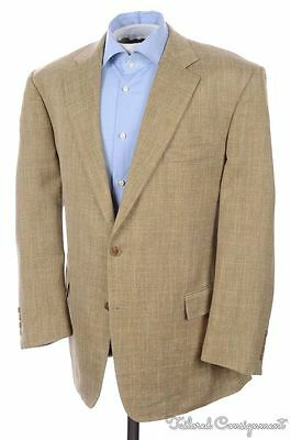BROOKS BROTHERS Madison Beige Check SILK LINEN WOOL Blazer Sport Coat - 45 R