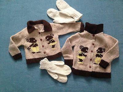 Vintage Childs Matching Sweaters Cute Bears