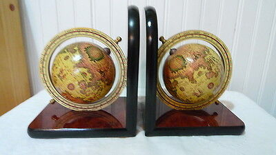 Vintage Old World Spinning Globe Bookends Made in Taiwan
