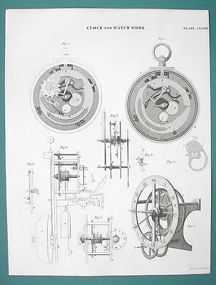 CLOCK Work & Repeating Equation Watch - c. 1835 Fine Quality Antique Print