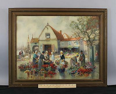 Antique 1910 Francis Vreeland Dutch Flower Market Gouache Watercolor Painting NR