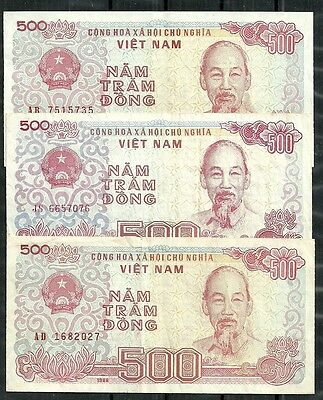 Vietnam $500 Dong Set Of 3 (Vf/xf) From 1988.