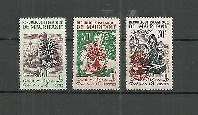 Mauritania Stamps #129-130,132 Set Of 3 (Nh) From 1962. Type Ii  Red Ovpt