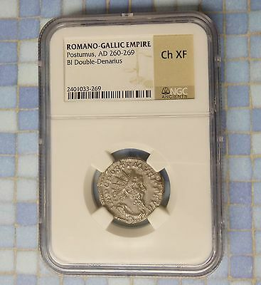 260 AD NGC CHOICE XF ROMAN GALLIC EMPIRE  Bi Double Denarius Ancient Coin NICE!