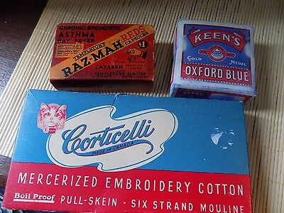 Vintage Lot of Boxes Oxford Bue Launry Raz Mah Tablets Corticelli Embroidery Cot